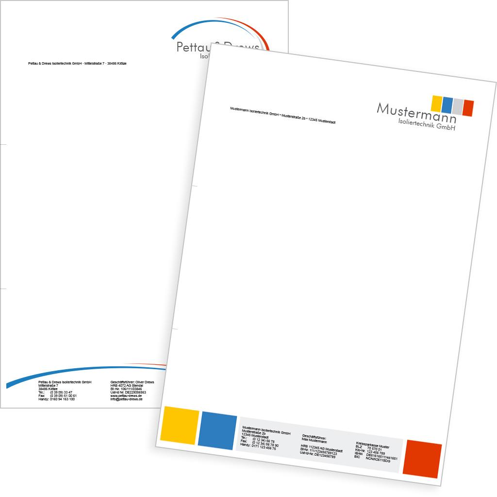 Werbung Geschäftspapiere Briefpapier Aufmaßblätter